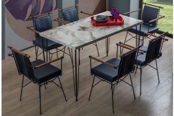 Amsterdam Mutfak Masa Takımı 6 Sandalyeli Lacivert