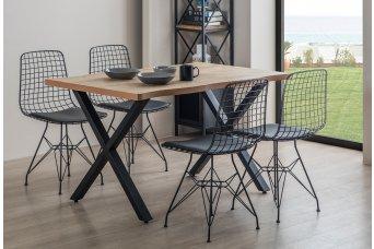 Bergama X Ayak 4 Sandalyeli Tel Mutfak Masa Takımı