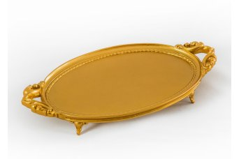 Elips Tepsi Dekoratif Obje Gold