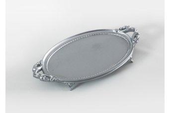Elips Tepsi Dekoratif Obje Gümüş