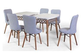Kaş Mutfak Masa Takımı Mavi 6 Sandalyeli