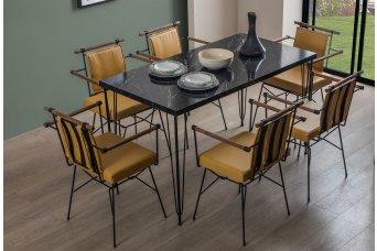 Oslo Mutfak Masa Takımı 6 Sandalyeli Hardal